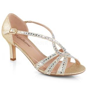 Goud glitter 6,5 cm Fabulicious MISSY-03 sandalen met naaldhak