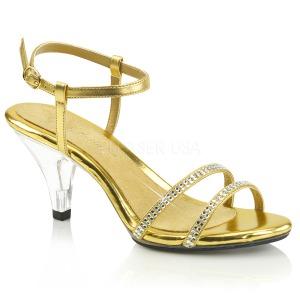 Goud strass steentjes 8 cm BELLE-316 high heels schoenen voor travestie