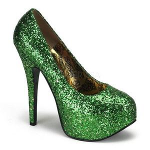 Green Glitter 14,5 cm Burlesque BORDELLO TEEZE-06G Platform Pumps