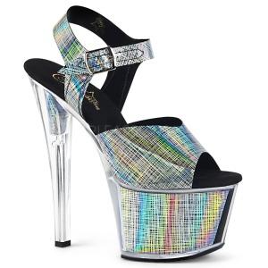 Grijs 18 cm SKY-308N-CRHM Hologram plateau schoenen dames met hak