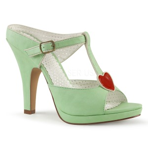 Groen 10 cm retro vintage SIREN-09 Hoge Dames Slippers