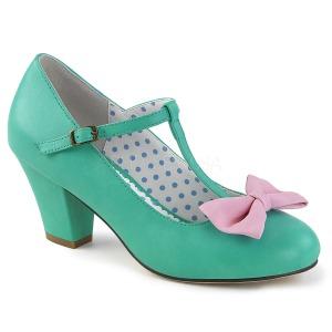 Groen 6,5 cm WIGGLE-50 Pinup pumps schoenen met blokhak