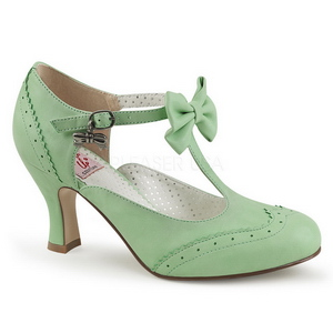 Groen 7,5 cm FLAPPER-11 Pinup pumps schoenen met lage hakken