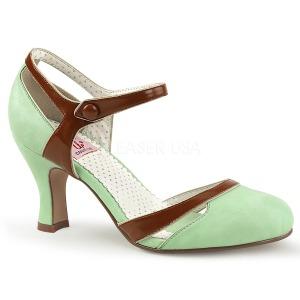 Groen 7,5 cm FLAPPER-27 Pinup pumps schoenen met lage hakken