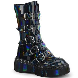 Hologram 5 cm EMILY-330 plateau laarzen dames met gespen