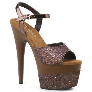 Koperen 18 cm ADORE-709-2G glitter plateau sandalen met hak