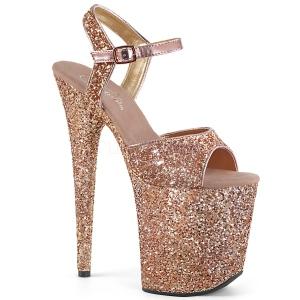 Koperen 20 cm FLAMINGO-810LG glitter plateau schoenen dames met hak