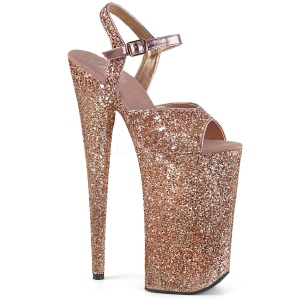 Koperen 25,5 cm BEYOND-010LG glitter plateau schoenen dames met hak