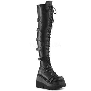 Kunstleer 11,5 cm SHAKER-350 overknee laarzen met plateauzool