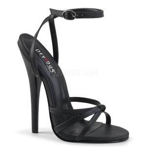 Kunstleer 15 cm Devious DOMINA-108 sandalen met naaldhak