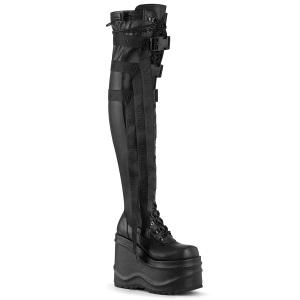 Kunstleer 15 cm WAVE-315-2 overknee laarzen met wedge plateau