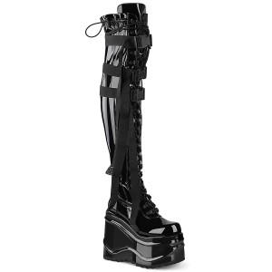 Kunstleer 15 cm WAVE-315 overknee laarzen met wedge plateau