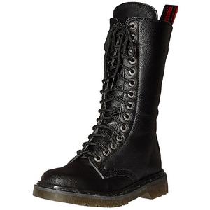 Kunstleer 3,5 cm RIVAL-300 Zwarte punk laarzen met veters