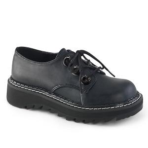 Kunstleer 3 cm LILITH-99 Zwarte punk schoenen met veters