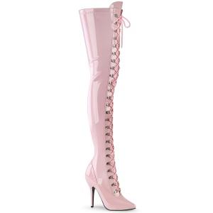 Lakleer 13 cm SEDUCE-3024 Roze overknee laarzen met veters