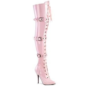 Lakleer 13 cm SEDUCE-3028 Roze overknee laarzen met veters