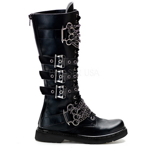 Leatherette Black DEFIANT-402 Mens Buckle Boots