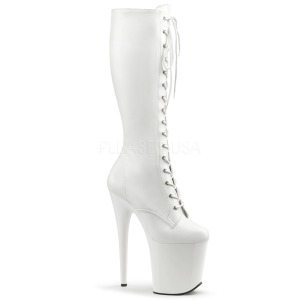 Leatherette White 20 cm FLAMINGO-2023 laced womens boots with platform