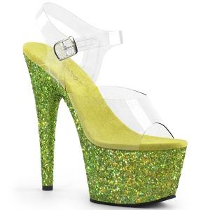 Limoen glitter 18 cm Pleaser ADORE-708LG paaldans schoenen met hoge hakken