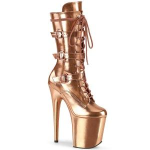Metallic 20 cm FLAMINGO-1053 platform gesp laarzen met hak gold