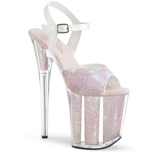 Opaal glitter 20 cm Pleaser FLAMINGO-810G paaldans schoenen met hoge hakken