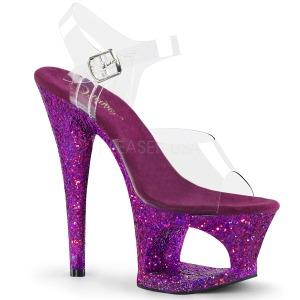 Purper 18 cm MOON-708LG glitter plateau schoenen dames met hak