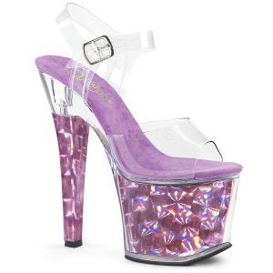 Purper 18 cm RADIANT-708HHG Hologram plateau schoenen dames met hak