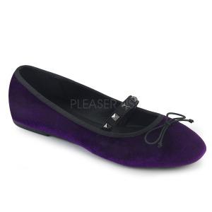Purper Fluweel DEMONIA DRAC-07 ballerinas platte damesschoenen