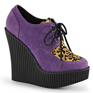 Purper Kunstleer CREEPER-304 wedge creepers schoenen sleehakken