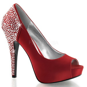 Red Rhinestone 13 cm LOLITA-08 High Heeled Evening Pumps Shoes