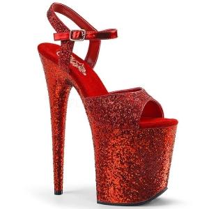 Rood 20 cm FLAMINGO-810LG glitter plateau schoenen dames met hak
