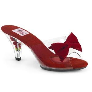 Rood 7,5 cm BELLE-301BOW Pinup mules schoenen met vlinderdas