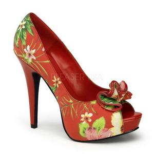 Rood Bloem 13 cm LOLITA-11 damesschoenen met hoge hak