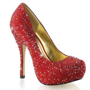 Rood Glinsterende Steentjes 13,5 cm FELICITY-20 damesschoenen met hak