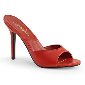 Rood Kunstleer 10 cm CLASSIQUE-01 grote maten mules schoenen