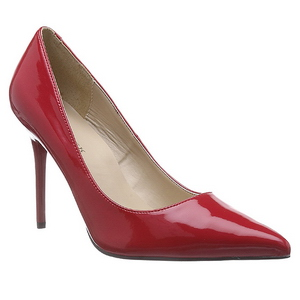 Rood Lak 10 cm CLASSIQUE-20 naaldhak pumps met puntneus
