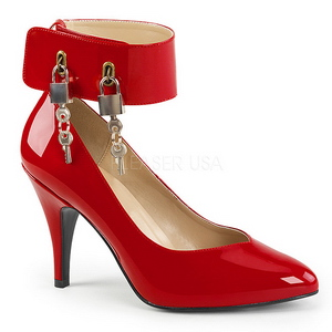 Rood Lakleer 10 cm DREAM-432 grote maten pumps schoenen