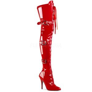 Rood Lakleer 12,5 cm SEDUCE-3028 Sexy Overknee laarzen