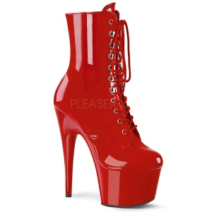 Rood Lakleer 18 cm ADORE-1020 dames enkellaarsjes met plateau