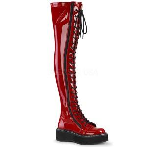 Rood Lakleer 5 cm EMILY-375 overknee laarzen met veters