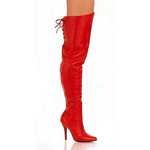 Rood Leder 13 cm LEGEND-8899 Hoge Overknee Laarzen
