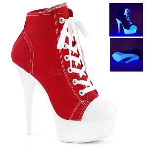 Rood Neon 15 cm DELIGHT-600SK-02 canvas sneakers met hoge hakken
