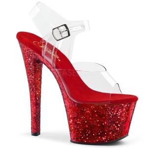 Rood glitter 18 cm Pleaser SKY-308LG paaldans schoenen met hoge hakken