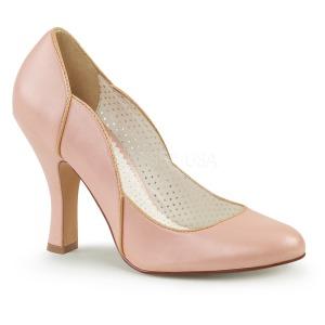 Roze 10 cm SMITTEN-04 Pinup pumps schoenen met lage hakken