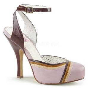 Roze 11,5 cm retro vintage CUTIEPIE-01 Pinup sandalen met verborgen plateauzool