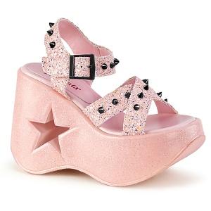 Roze 13 cm Demonia DYNAMITE-02 lolita sandalen wedge sandalen sleehak