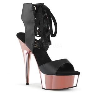 Roze 15 cm DELIGHT-600-14 pleaser sandalen met plateau