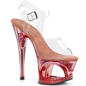 Roze 18 cm MOON-708GFT glitter plateau sandalen met hak