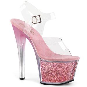 Roze 18 cm SKY-308G-T glitter plateau sandalen met hak