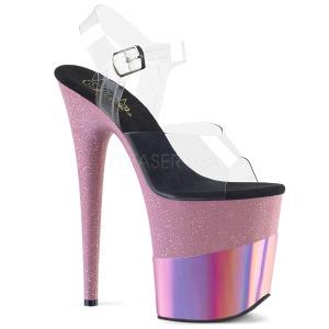 Roze 20 cm FLAMINGO-808-2HGM glitter plateau sandalen met hak
